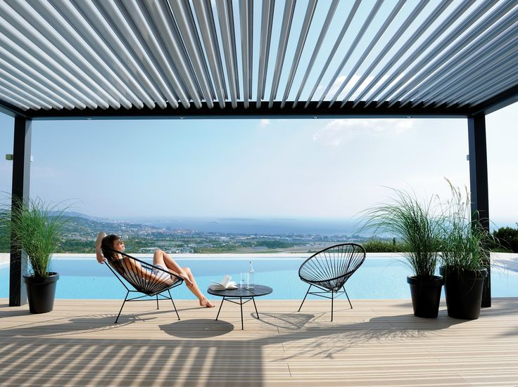 bioclimatic pergola with adjustable louvers biossun by biossun outdoor furnishings. Black Bedroom Furniture Sets. Home Design Ideas