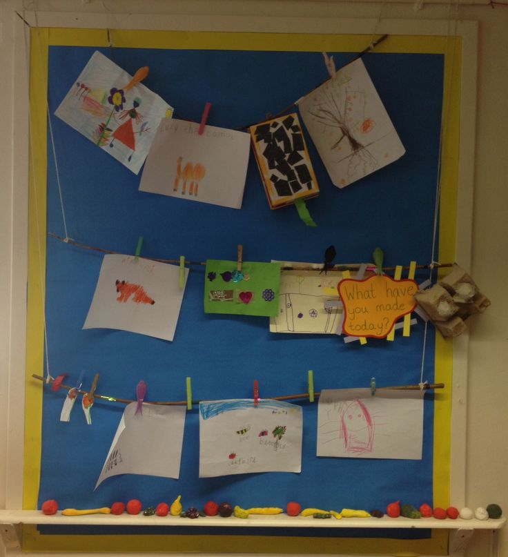 My 'what have you made today' display. Easy to peg up new creations as the children make them. #reception #display