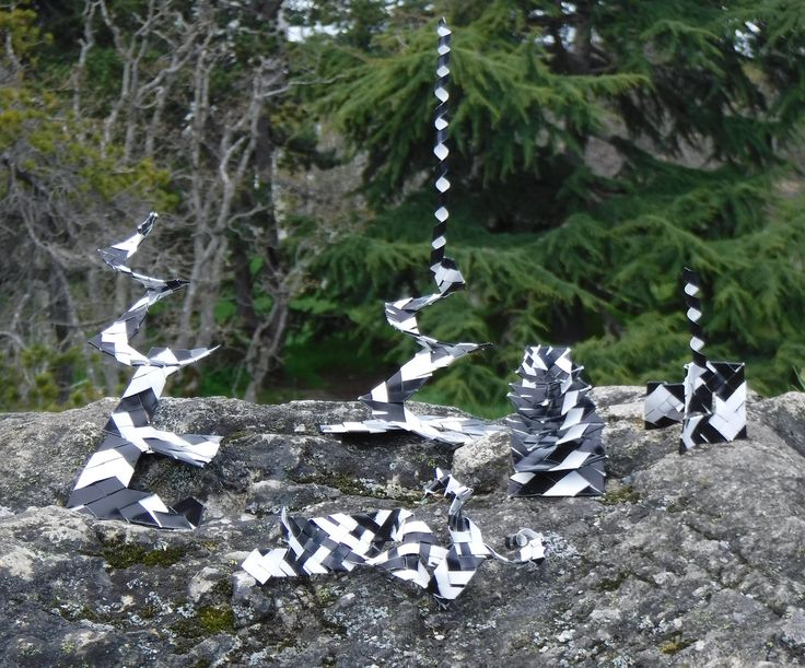 https://flic.kr/p/TJ1Qft | Apr 15 2017 Phil's sculptures in the park | Trish and I were walking in Beacon Hill Park, (in Victoria, B.C., Canada). This rocky outcrop with the trees behind it  seemed like a good place for a photoshoot. These sculptures were made from aluminum roof flashing that is black one side and white on the other. Thin strips were braided and woven together. I used modified pliers to help with the folds, and an awl to form the spirals.