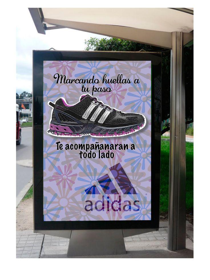 Montaje de sobre imagen de eucol, la camapaña es promocionando unas zapatillas femeninas de adidas (Las marcas son utilizadas con fines educativos, sin animo de lucro)
