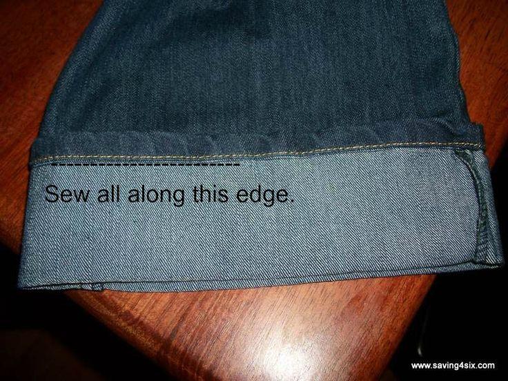 Hem jeans, and keep the original seam!    Saving 4 Six: How To Hem Jeans