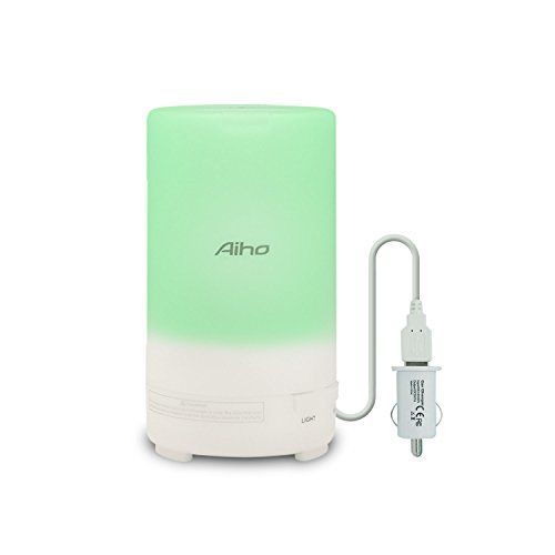 Car Diffuser USB Car Essential Oil Diffuser Aiho 50ml Portable Car Air Humidifier with 3 Timer Modes 7 LED Colors for Home Yoga Office Spa  <b>[5 in 1 Functions]</b>: Aroma diffuser, humidifier, air purifier, ionizer and night light. With ultrasonic vibration, transform water into mist quietly, to reduce inflammation and congestion, prevent dry, stuffy air and flu/cold germs; Add essential oils, lift your mood, relieve stress, or remove unpleasant odors from the air  <b>[7 Colors LED L...
