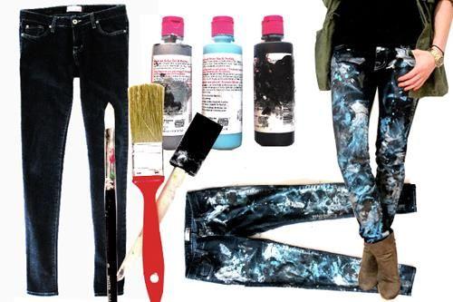 Как раскрасить джинсы карандашами