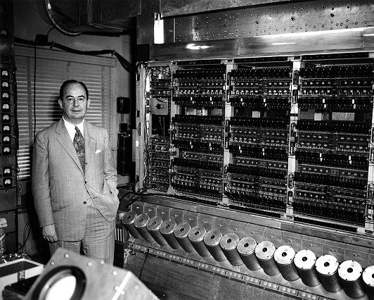John Von Neumann and his machine at Princeton Institute of Advanced Studies. Used Williams tubes (CRTs) as memory devices, but used his stored-program concept, thus modern systems are mostly based on  Von Neumann architecture. Photo from Computer History Museum