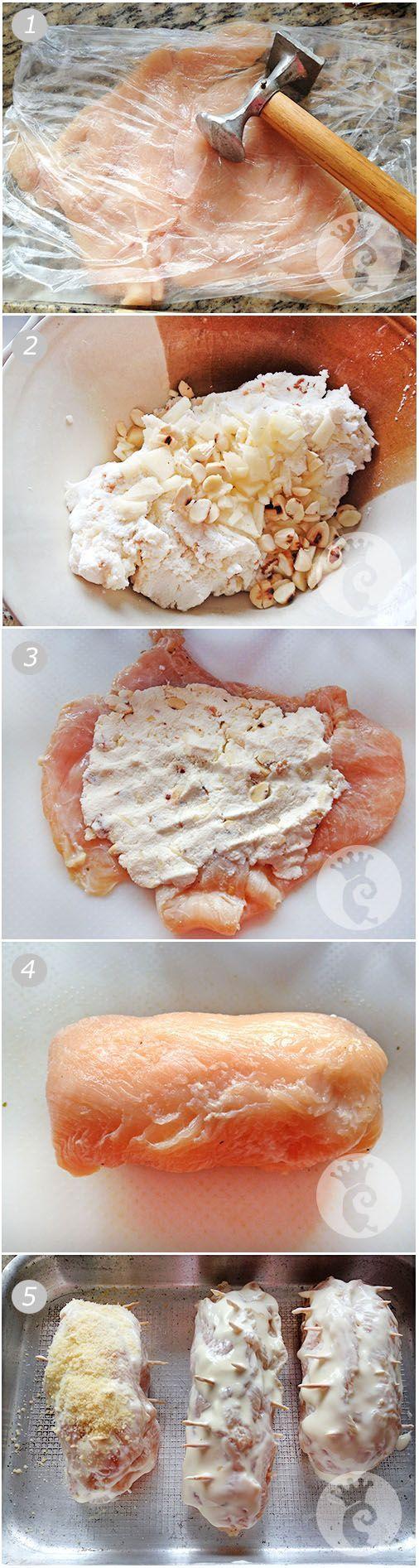 Rolê de frango com ricota, maçã e amêndoas