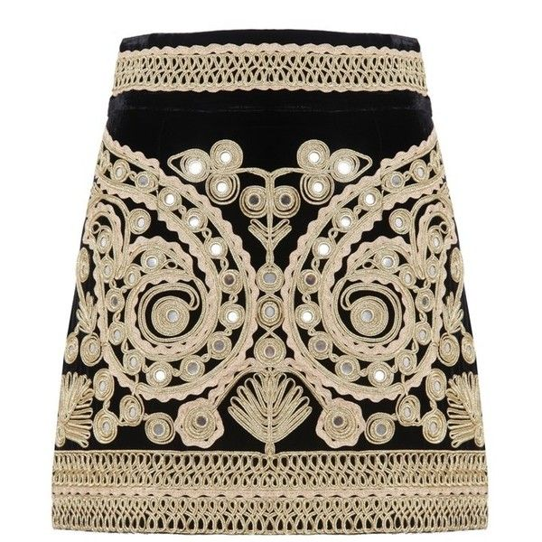 For Love and Lemons Paris Mini Skirt ($535) ❤ liked on Polyvore featuring skirts, mini skirts, velvet mini skirt, short skirts, brown skirt, sparkle skirts and embroidered mini skirt