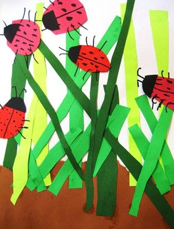 "bug collage  read aloud :  2 bad ants  day 1:  paint brown dirt below line, day 2:  stu cut green ""grass"" day 3, ladybugs"
