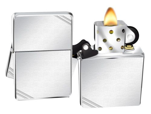 Click Now Zippo Lighter 230 Vintage Series 1937 With Slashes Brushed Chrome New Hurry Zippo Lighter Zippo Lighter