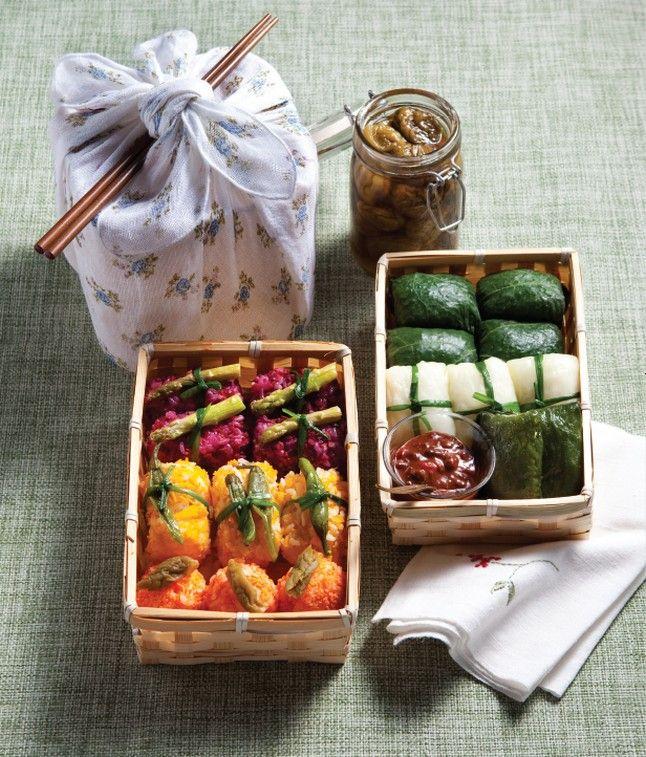 Ssambap (Korean wrapped rice) lunch box : Dosirak