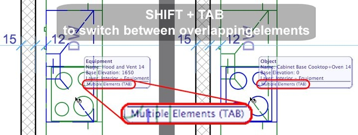 To select one of overlapping elements, use TAB to switch between them while holding down the SHIFT