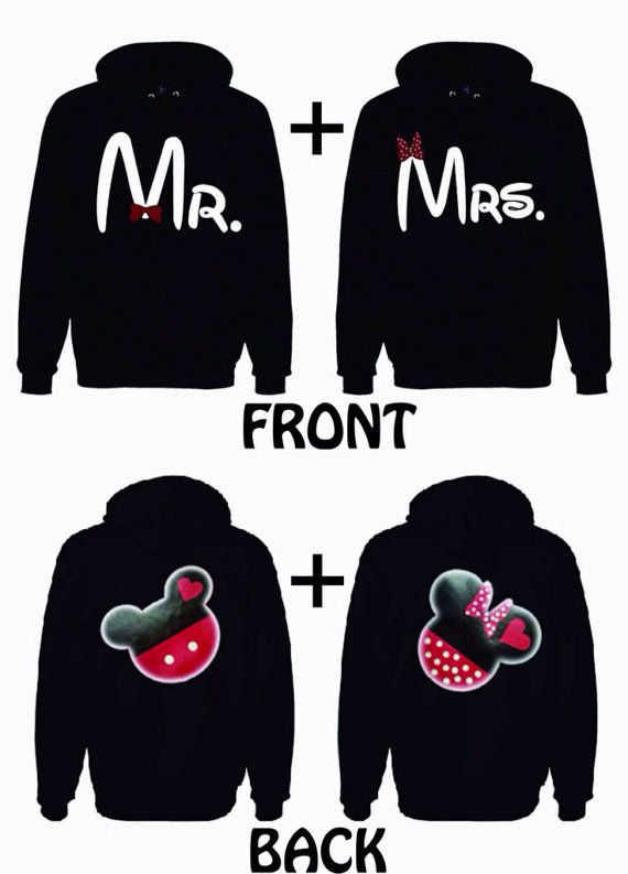Disney Hoodies Mickey and Minnie on the back Mr and Mrs on the