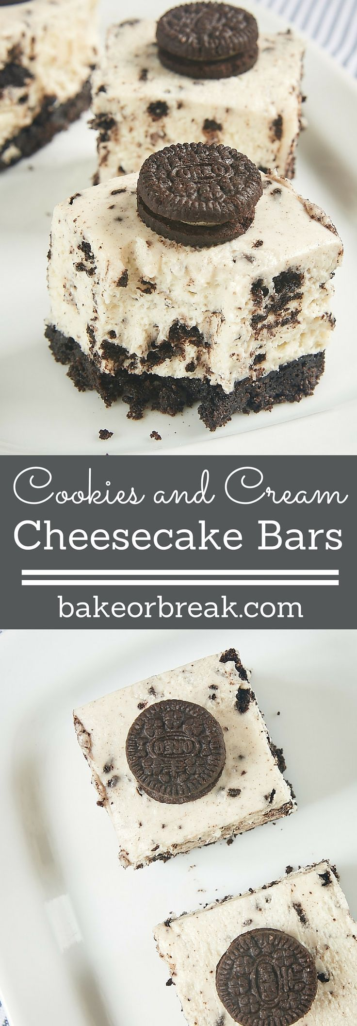 Oreo lovers will be in dessert heaven with these Cookies and Cream Cheesecake Bars. A cookie crust, a simple no-bake cheesecake, and lots of Oreos make these a sure crowd-pleaser! - Bake or Break