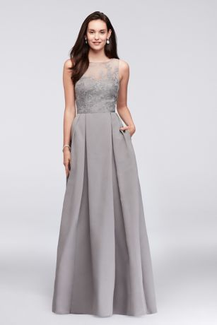 An elegant illusion bodice is topped with floral appliques on this floor-length, structured faille bridesmaid dress. A keyhole back and side pockets are thoughtful finishing touches. From Oleg Cassini, exclusively at David's Bridal.   Oleg Cassini, exclusively at David's Bridal  Polyester  Back zipper; fully lined  Dry clean  Imported  Also available in extra length
