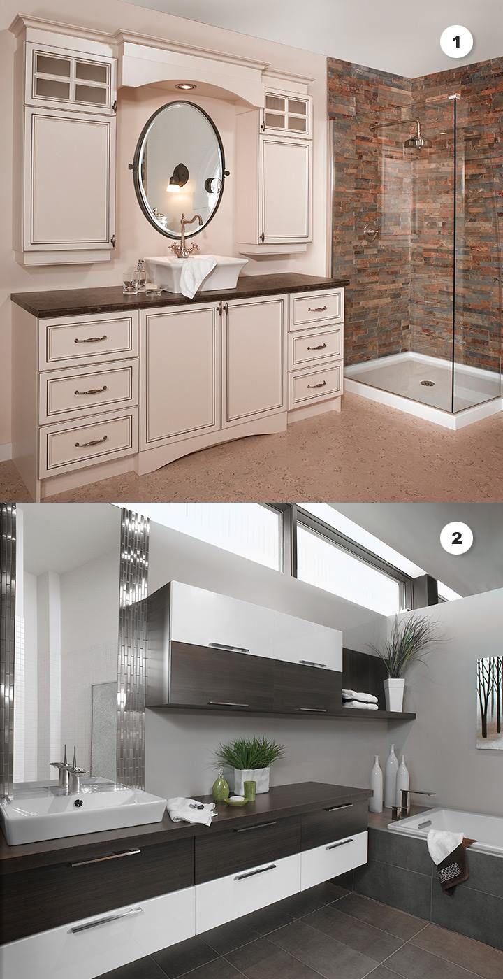 Deux salles de bain complètement différentes...laquelle vous préférez?