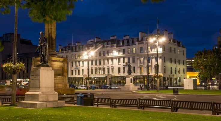Millennium Hotel Glasgow Glasgow This 4-star, central Glasgow hotel is located on George Square next to Glasgow Queen Street Train Station. It provides elegant rooms and a relaxed brasserie serving Loch Fyne seafood and Scottish beef.