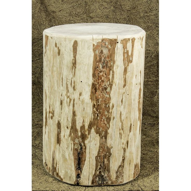 """The perfect accessory to the perfect rustic home, these """"Cowboy Stumps"""" can serve as a unique seating option or as an occasional table. Skip peeled by hand using old-fashioned draw knives for a unique, one-of-a-kind look, this item comes 'ready to finish'. Just apply lacquer or stain and lacquer to match your existing decor. May vary in size due to variation in tree size. Hand crafted in USA from genuine lodge pole pine!"""
