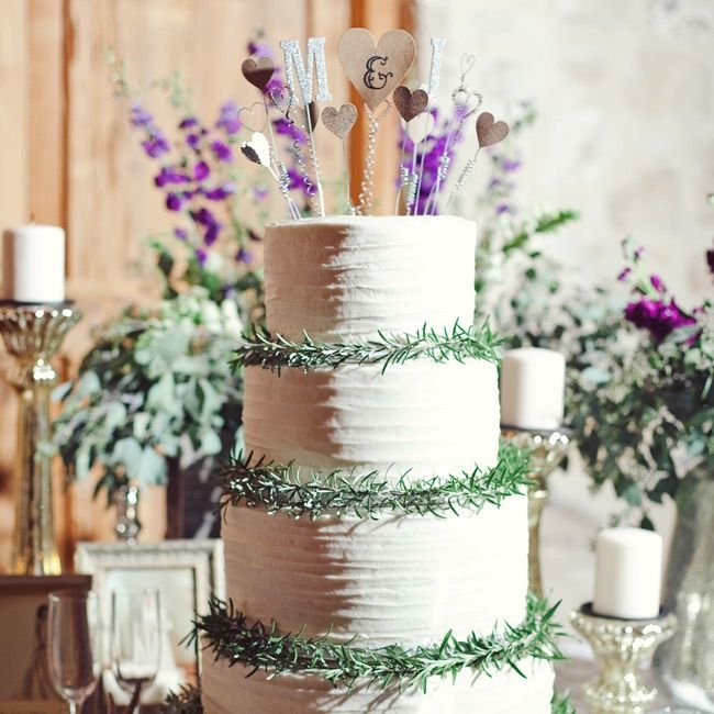 Fresh Rosemary Decorated Cake // photo by: The Nichols Photography //  Cake: Lizzy Cake Company // http://www.theknot.com/weddings/album/a-vibrant-rustic-wedding-in-austin-tx-136764
