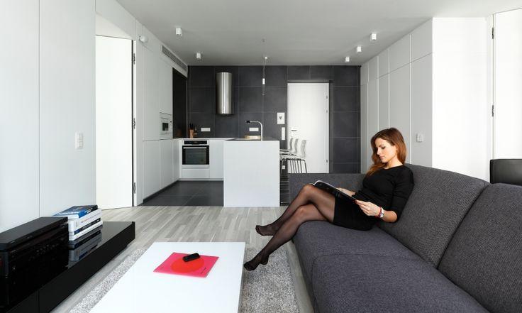 Apartmán bude slúžiť na prenájom pre dvoch samostatných nájomcov, a tomu sme prispôsobili pôdorys, ktorý neobsahuje chodby. Uprostred dispozície je spoločný denný a vstupný priestor, z ktorého vedú dvere do nočných zón umiestnené zrkadlovo oproti sebe. Každá spálňa obsahuje posteľ, úložné a hygienické priestory.
