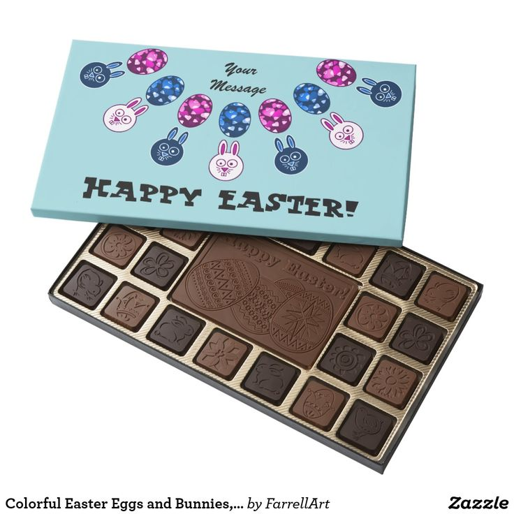 Colorful Easter Eggs and Bunnies, add text Assorted Chocolates