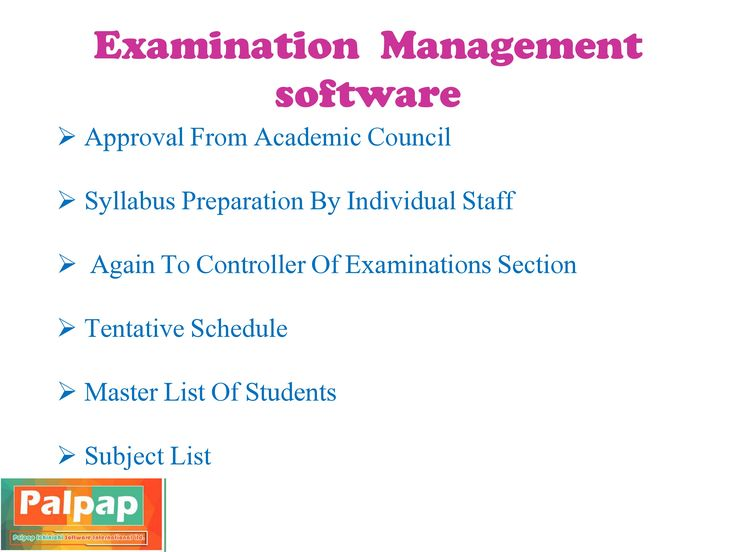 Palpap ERP module also include Controller Of Examinations Section,Approval From Academic Council and Syllabus Preparation By Individual Staff, Again To Controller Of Examinations Section, Tentative Schedule (For Odd And Even Semesters), Master List Of Students (Biodata), Subject List (Including Mark Splitup, Grade, Total Marks, Course Pattern, Etc.)
