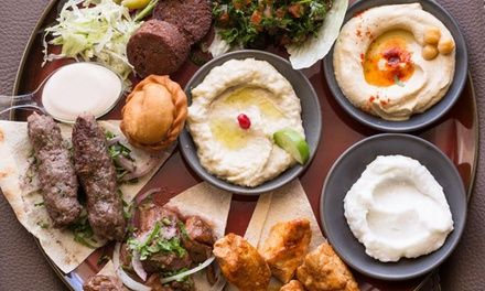Guests can tuck into a a five-course feast with wine including haloumi, labne and Shanklish to share and a traditional Lebanese mixed plate