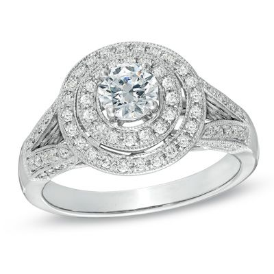 1.00 CT. T.W. Diamond Double Frame Vintage-Style Engagement Ring in 14K White Gold  - Peoples Jewellers