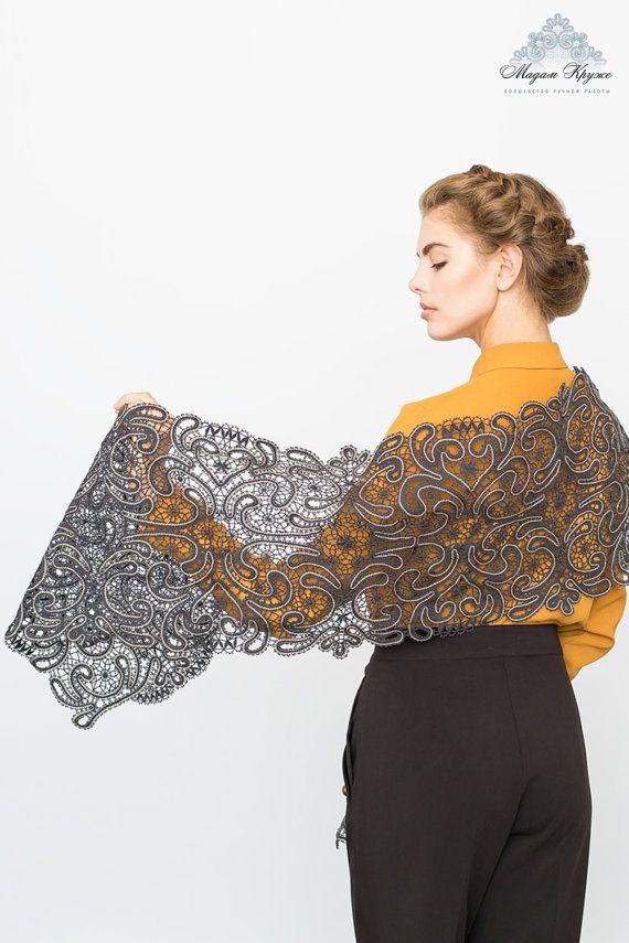 """Bobbin Lace stole """"The Dark Night"""" russian bobbin lace handmade russia lace shawl"""