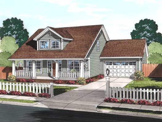 Bungalow Style House Plans - 2066 Square Foot Home , 2 Story, 3 Bedroom and 2 Bath, 2 Garage Stalls by Monster House Plans - Plan 11-442