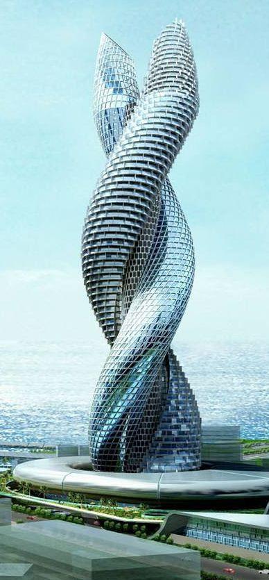 Dit gebouw in Koeweit heeft een spiraalachtige vorm. Het gebouw is nu nog niet afgebouwd, maar als het eenmaal is afgebouwd zou het kunnen draaien. Dit is gedaan om een spiraal effect te geven.