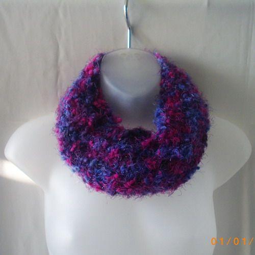 Handknit blue, pink and purple acrylic cowl neckwarmer