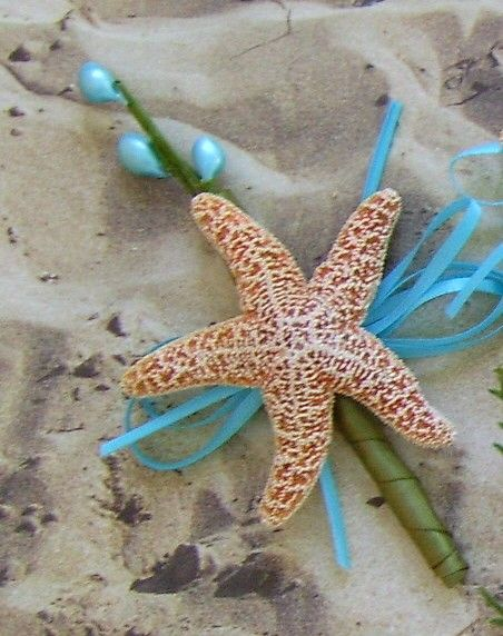 Beach Wedding Starfish Boutonniere.... Interesting......