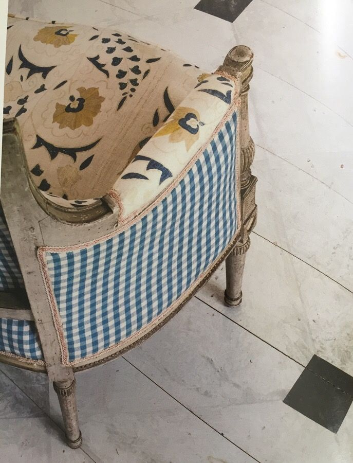 French style chair upholstered in Robert Kime suzani linen with contrasting gingham back