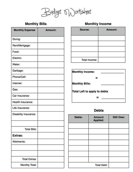 Free Budget Worksheet and tips for becoming debt-free! www ...