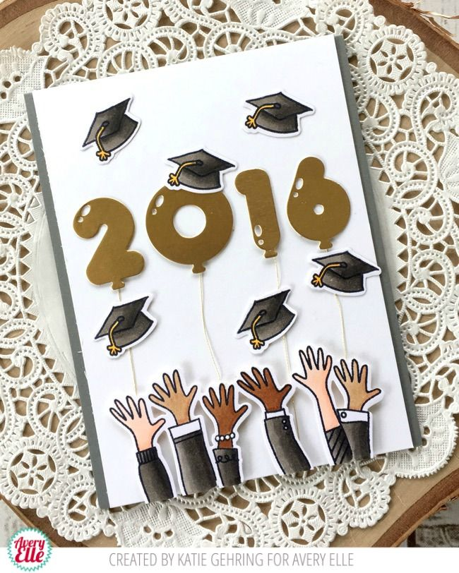 Avery Elle: Hats Off Graduation Card by Katie Gehring.