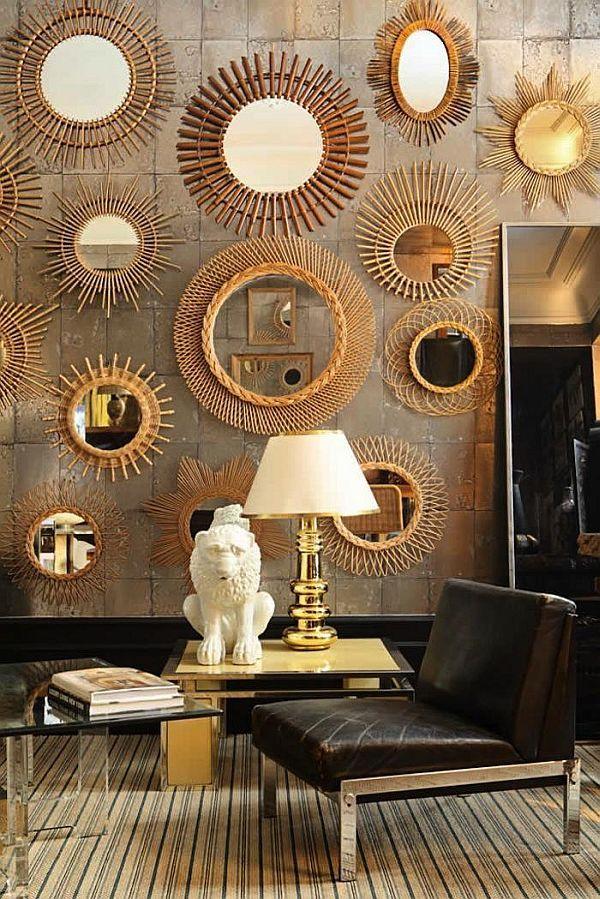 sunburst mirrors on the wall