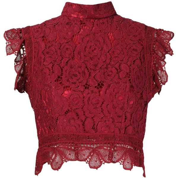 Martha Medeiros Crop Lace Blouse (£795) ❤ liked on Polyvore featuring tops, blouses, red, lacy blouses, lace collar blouse, red lace top, red crop top and collar top