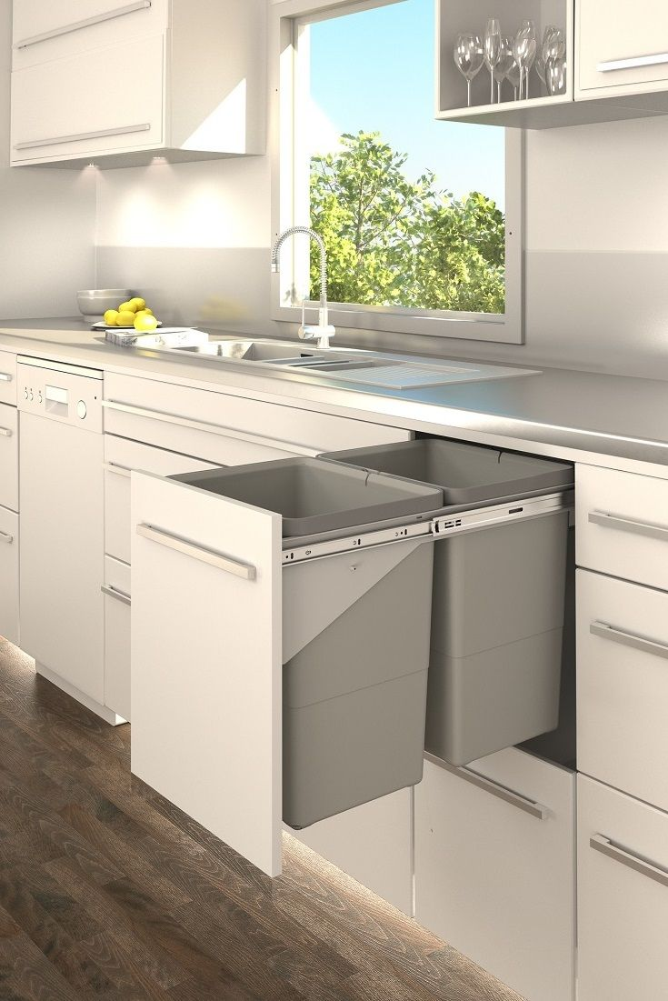 Tanova pull out kitchen bin in drawer style; designed to install with a fixed front for one motion use.