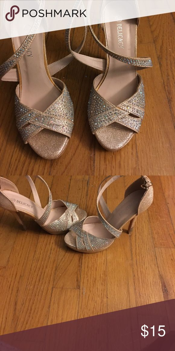 Champagne colored heels Worn for a wedding one time Shoes Heels