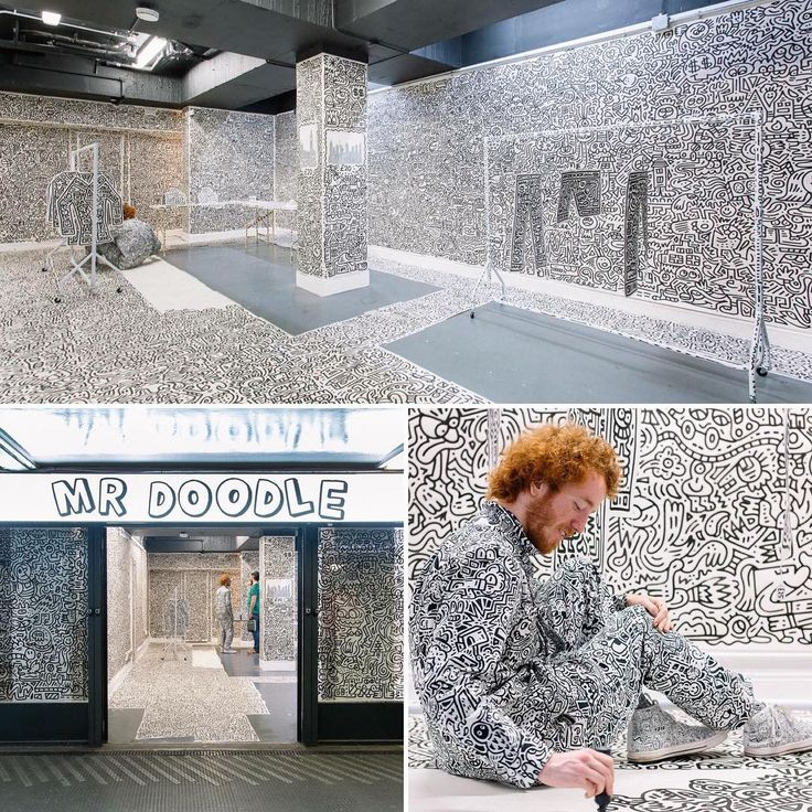 """MR DOODLE, Old Street Station, London, UK, """"Artist Mr Doodle has taken over a pop-up store with his unique style of art"""", photo by Retail Focus, pinned by Ton van der Veer"""