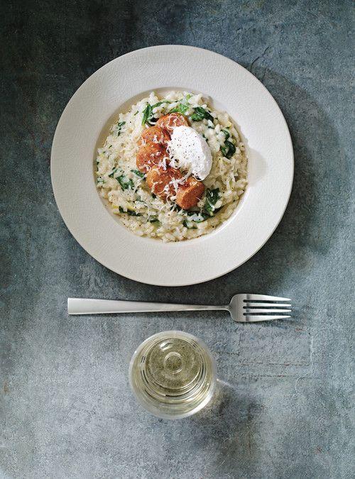 Risotto au four au poireau et aux épinards Façon moins fastidieuse de faire un risotto!!