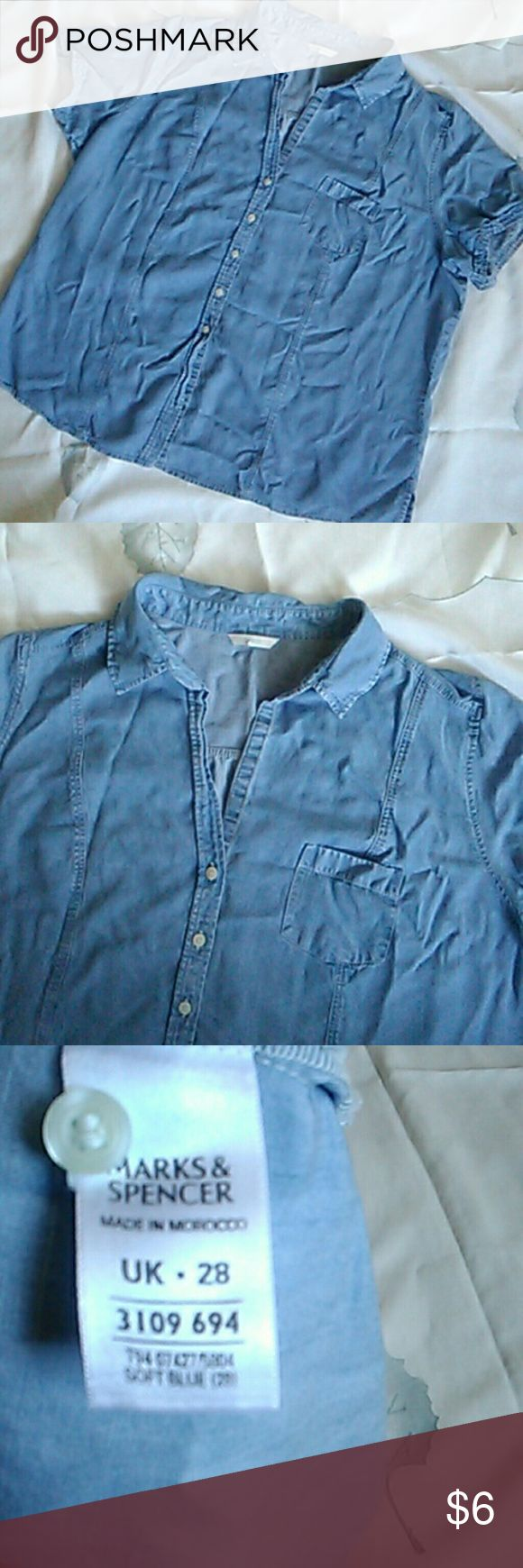 Blouse Marks & Spencer Shirt, front pocket.100% lyocell. Shirt has blue jean look. Worn, short is soft to the touch. The size is up 28, in us approx. A plus size 24. Marks & Spencer Tops Button Down Shirts