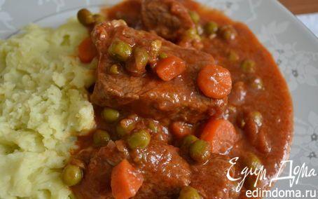 Мясо, тушенное в томатном соусе (SPEZZATINO al POMODORO)