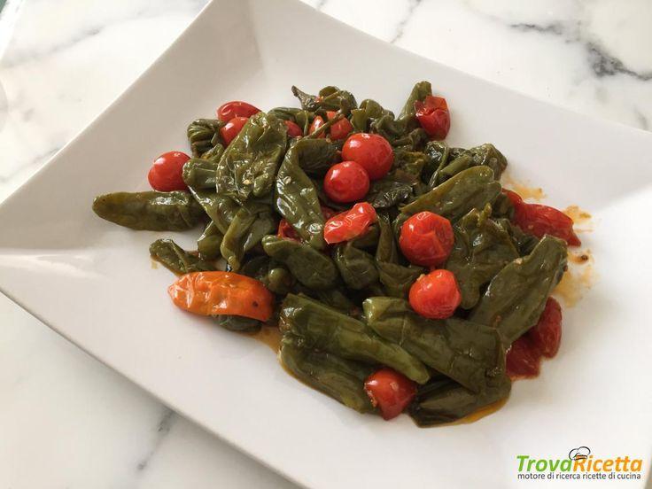 Peperoni verdi con pomodori ciliegini  #ricette #food #recipes
