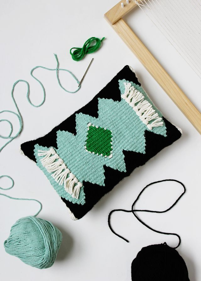 DIY - Weaved pillow with detailed tutorial by abeautifulmess.com