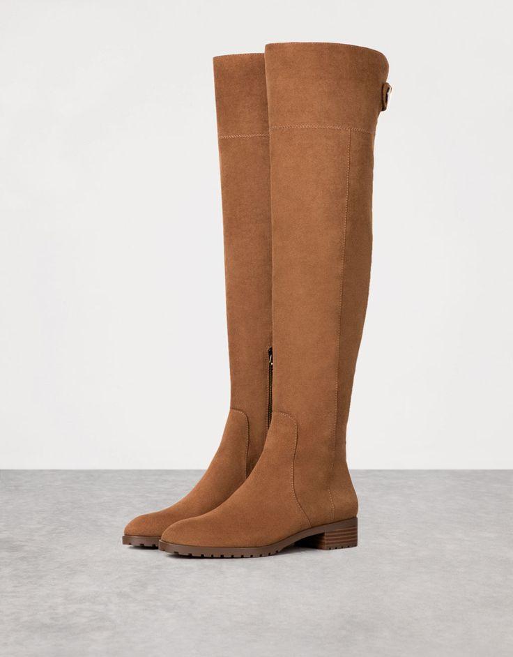 Tight-fitting flat, tall boots - View All - Bershka Greece