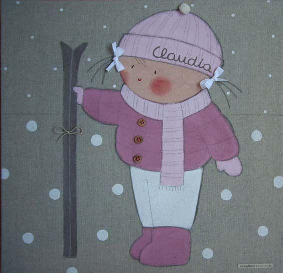 Cuadro infantil personalizado niña esquiando