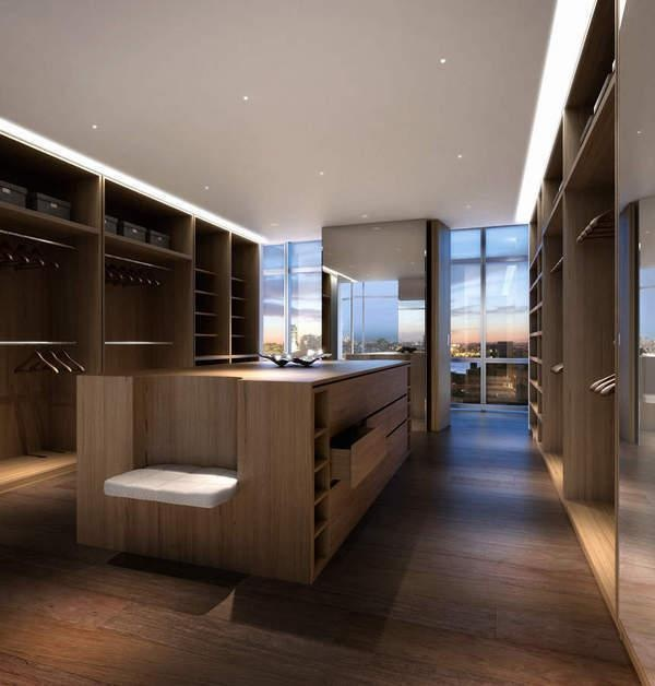 Town Residential, 1 York Street, 10th-Floor Large modern dark wood closet with island and built in seating
