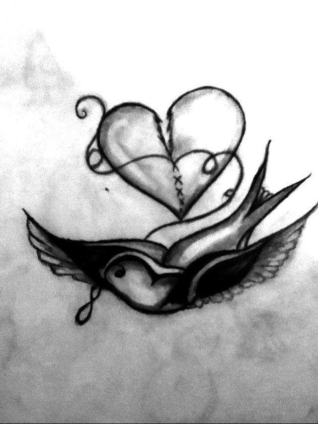 Bird fixing a broken heart<3