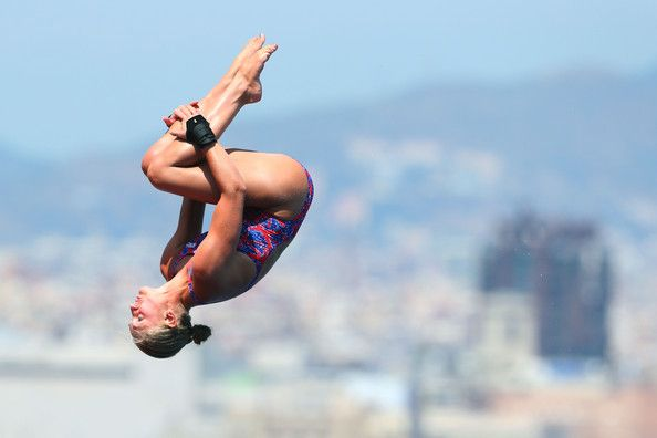 Sarah Barrow of Great Britain competes in the Women's 10m Platform Diving semi final on day five of the 15th FINA World Championships at Piscina Municipal de Montjuic on July 24, 2013 in Barcelona, Spain.