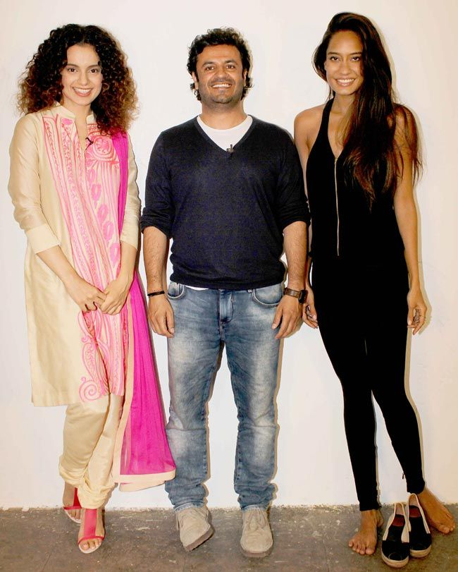 Kangna Ranaut with Vkas Bahl and Lisa Haydon : Karan Johar visits R Balki's film set